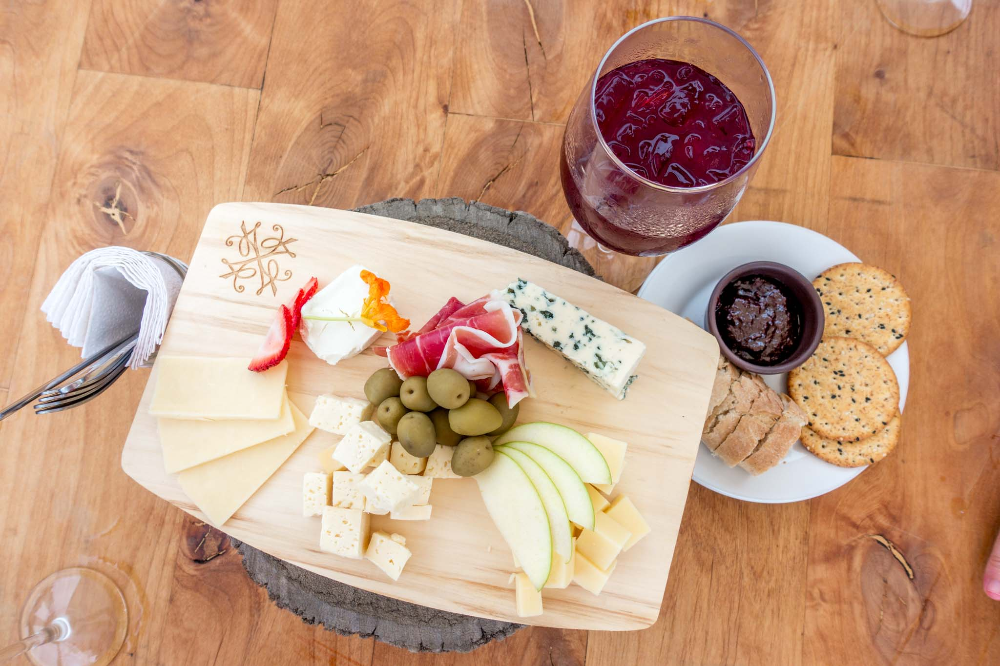 Cheese plate and sangria at Bar Bura at Cuatro Cuatros