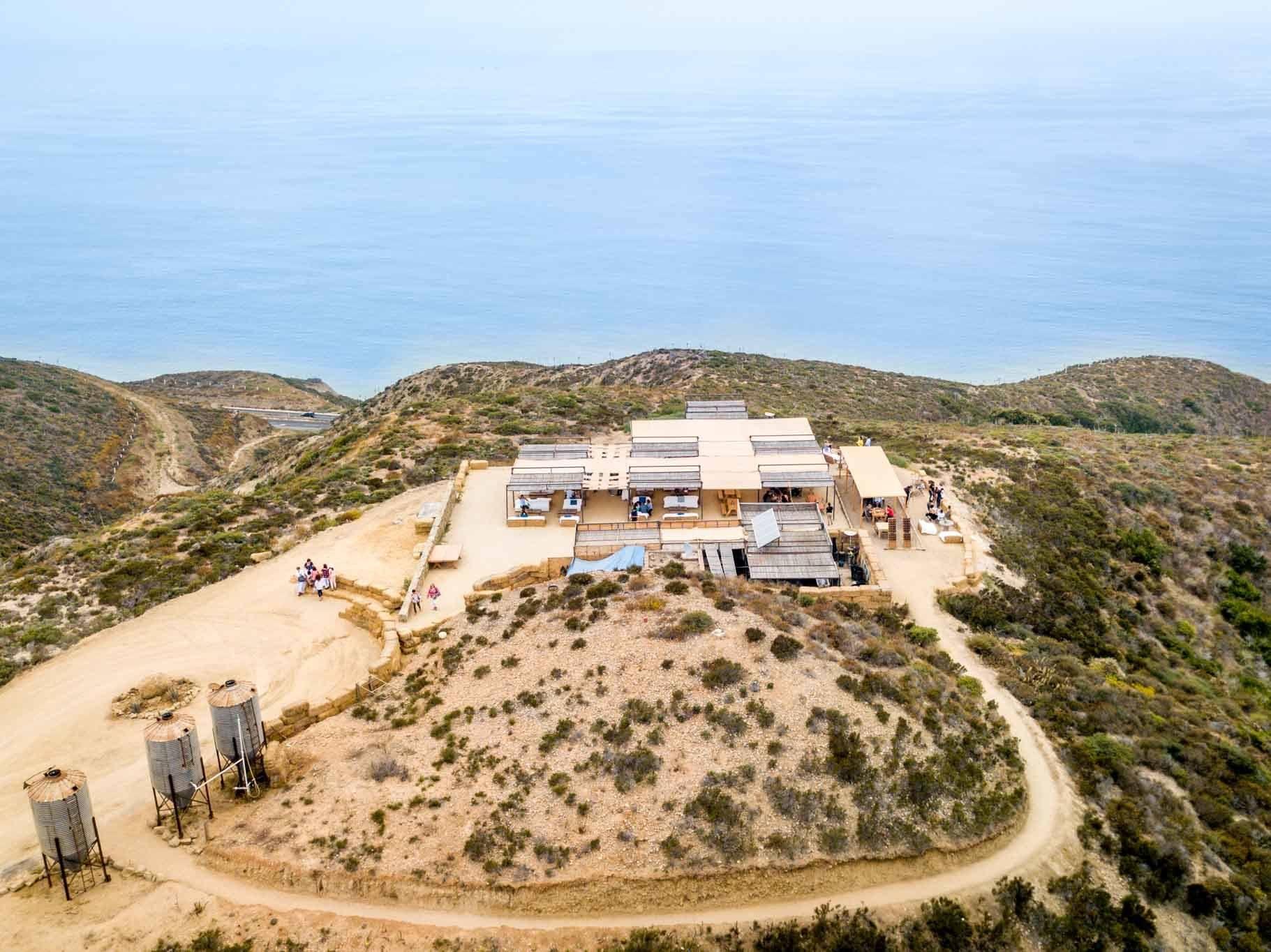 Aerial view of the incredible Bar Bura at Cuatro Cuatros overlooking the Pacific Ocean