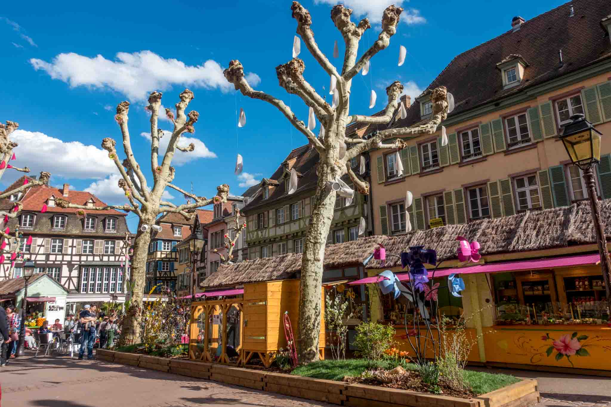 Easter market and spring decorations