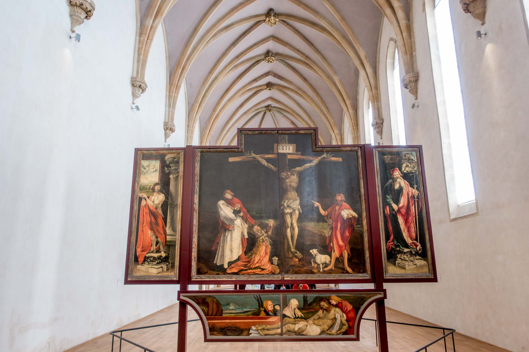 Painting of Jesus being crucified on display at the Unterlinden Museum