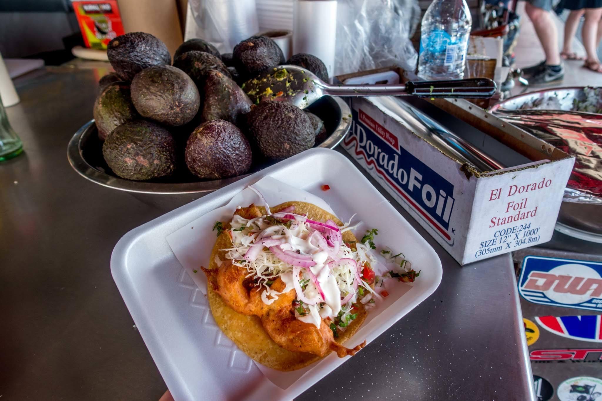 Shrimp tacos street food