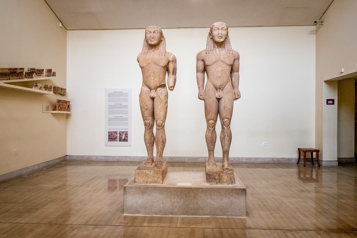 The Cleobis and Biton statues in the Delphi Archaeological Museum