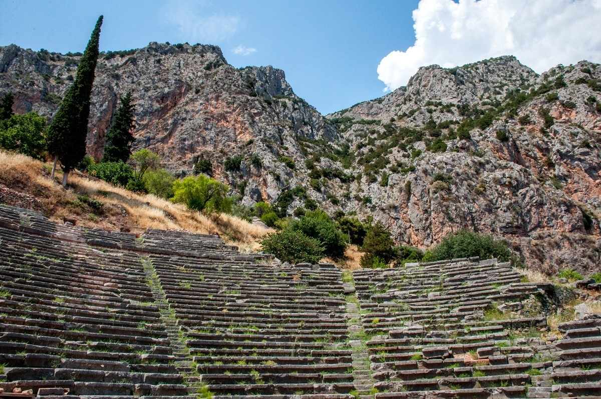The Delphi Amphitheater with Mount Parnassus in the background