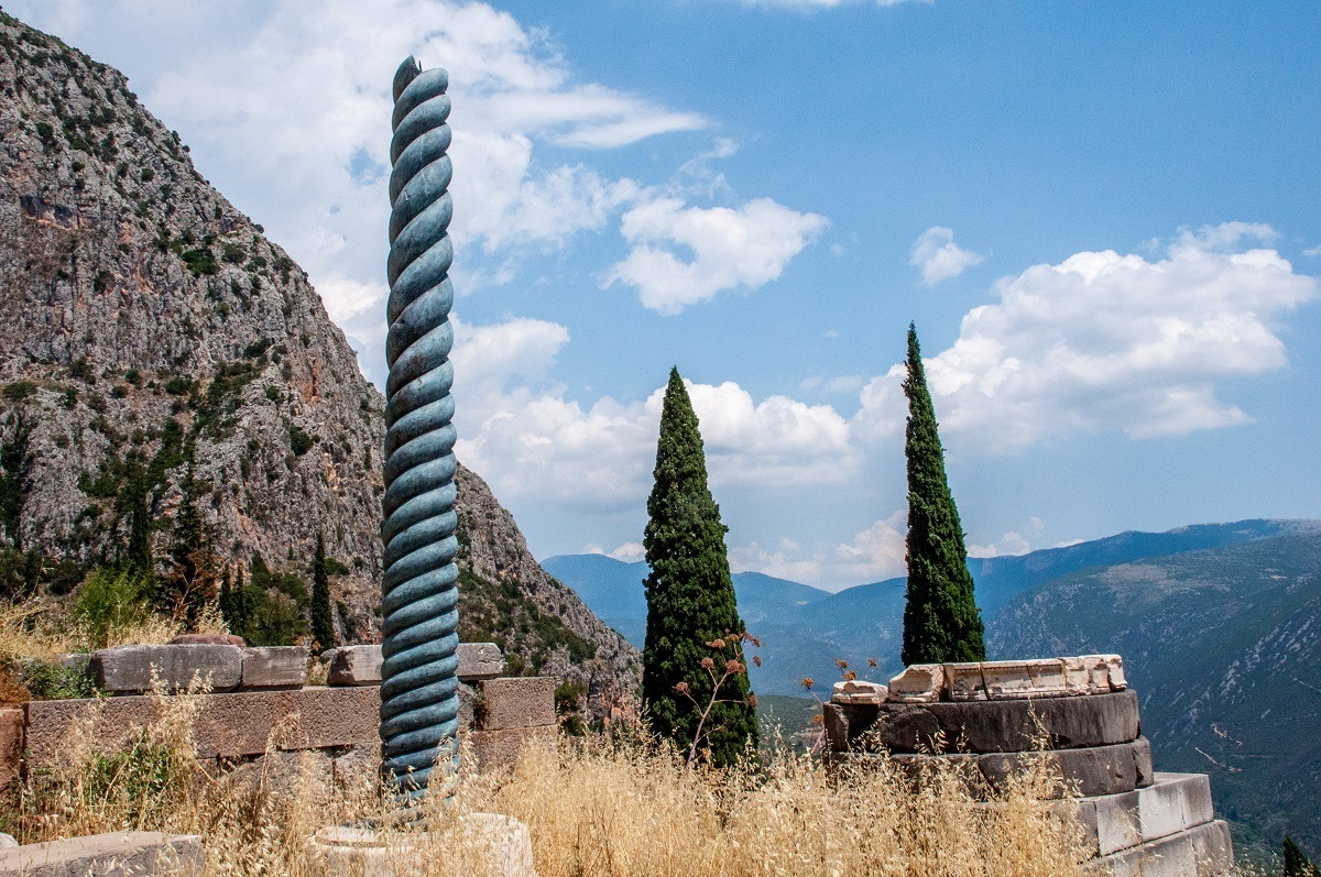 The recreation of the Serpent Column at the Sanctuary of Apollo Delphi