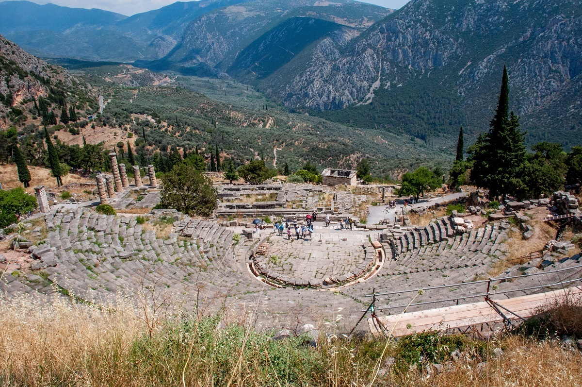 The Amphitheater on a Delphi day trip from Athens.