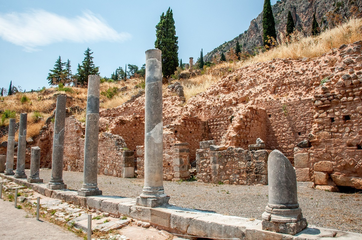Columns and wall in the archaeological site
