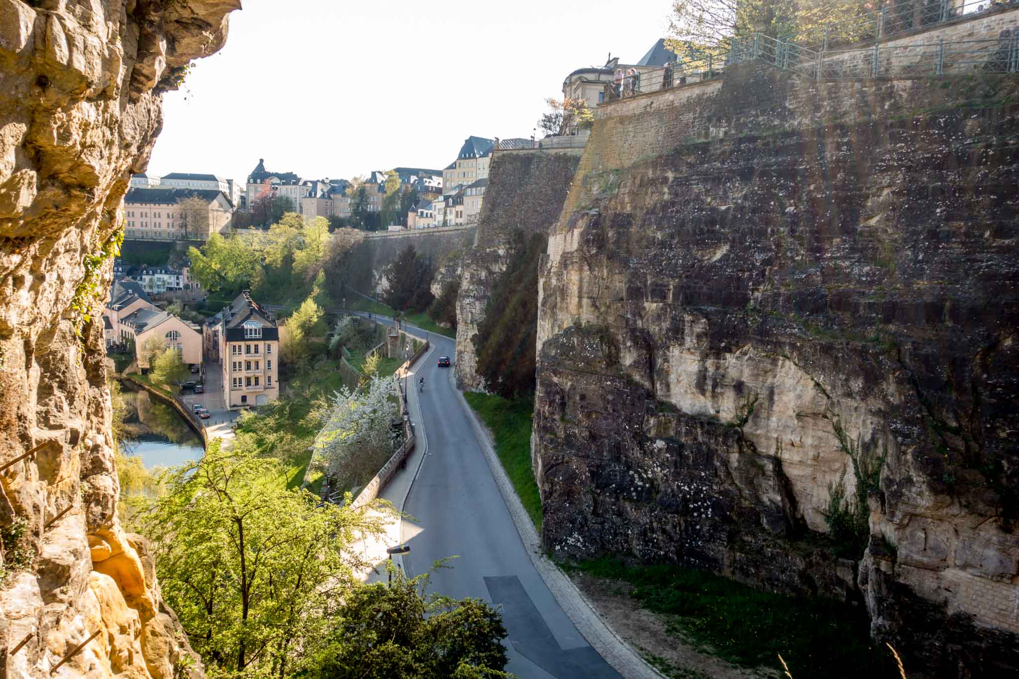 View of road between upper and lower parts of Luxembourg City