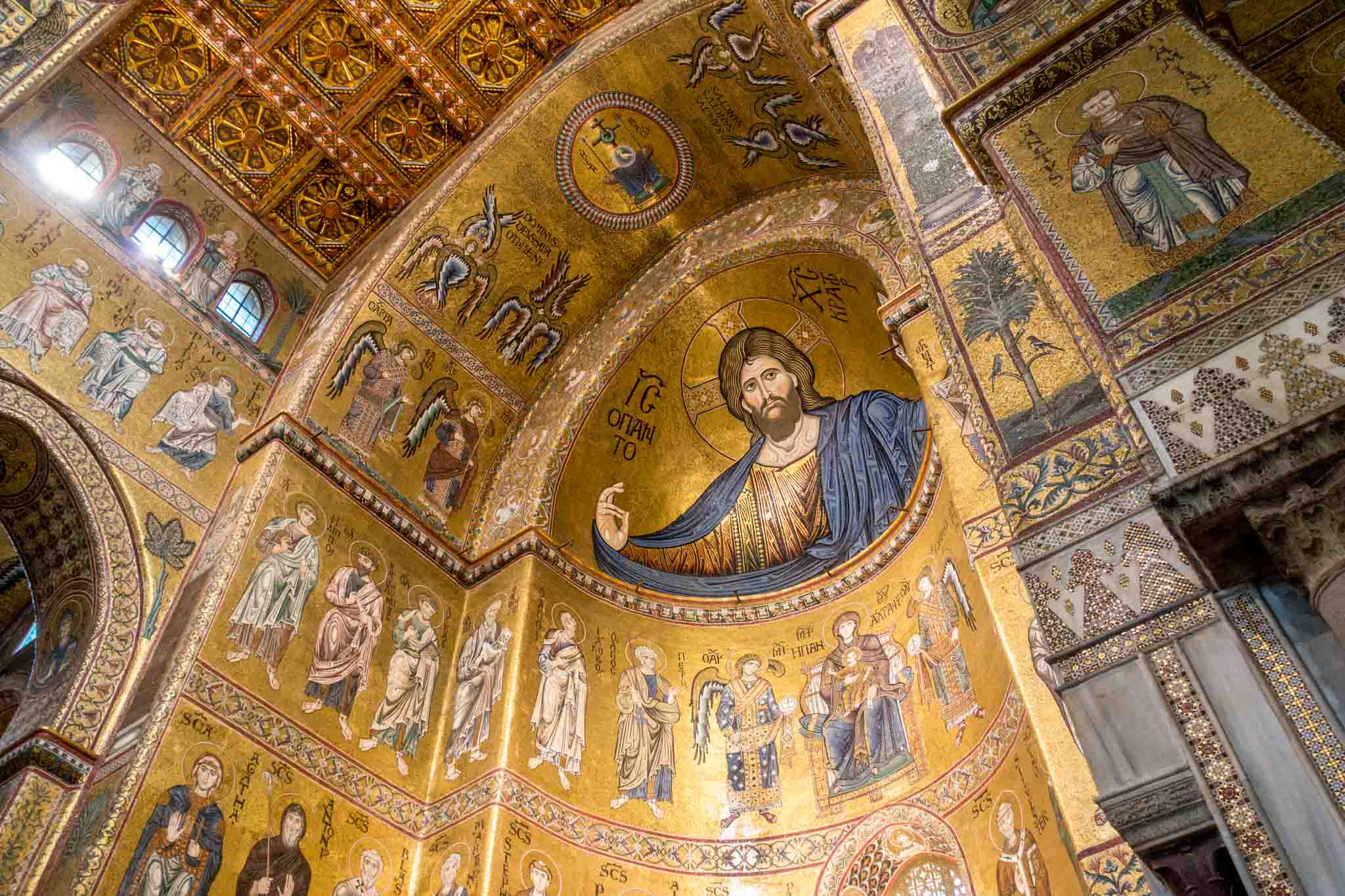 Large tile and gold mosaics of Jesus and the saints