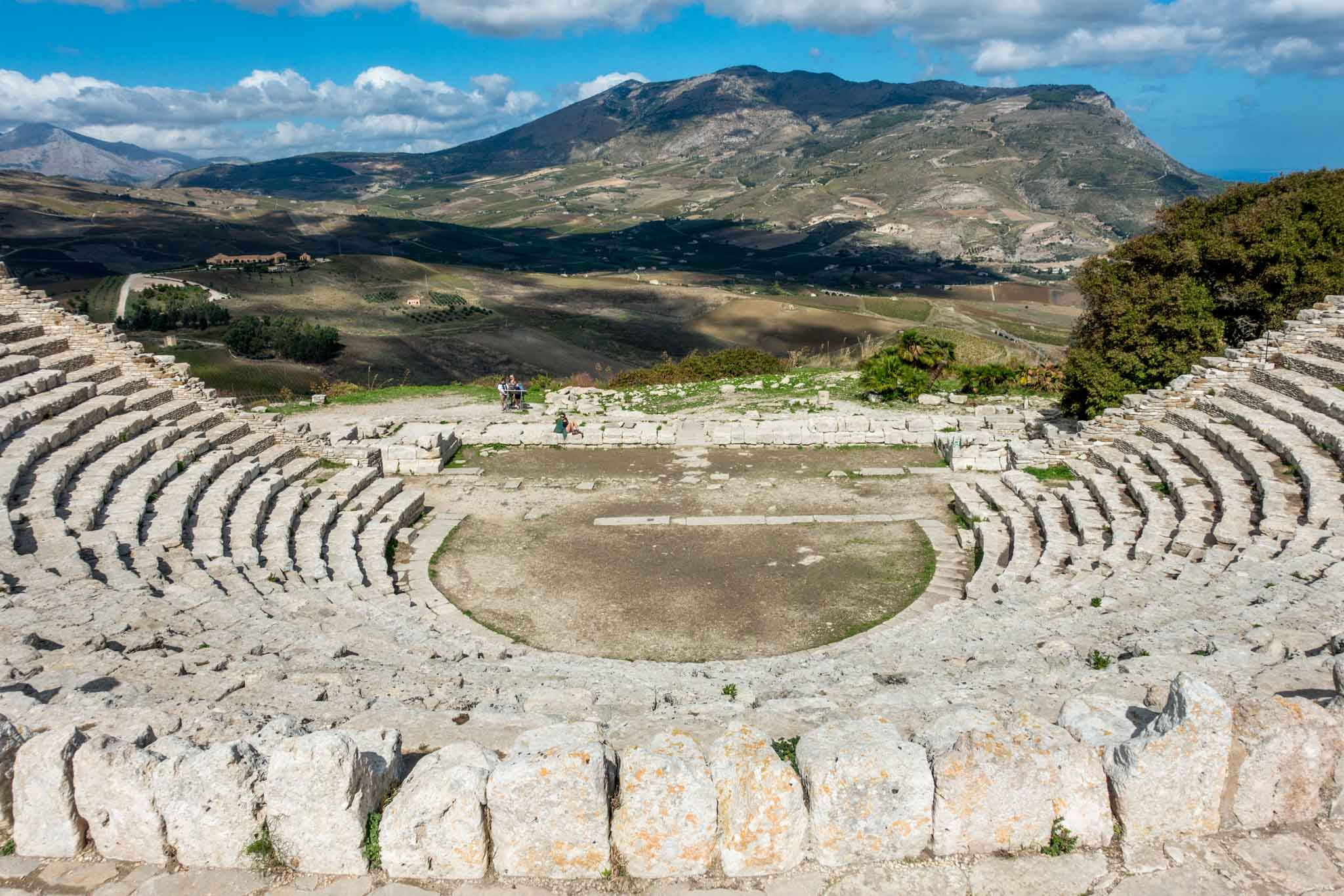 View of mountains and valley from an ancient amphitheater