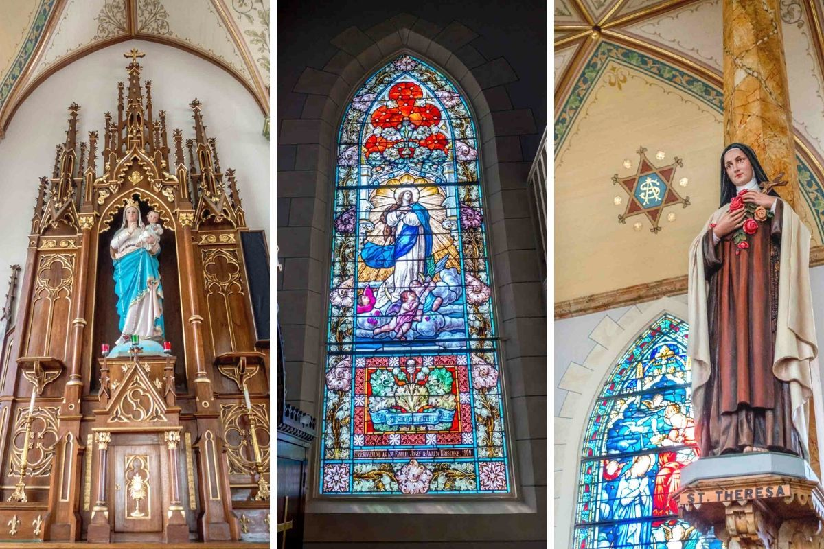 Religious statues and stained glass
