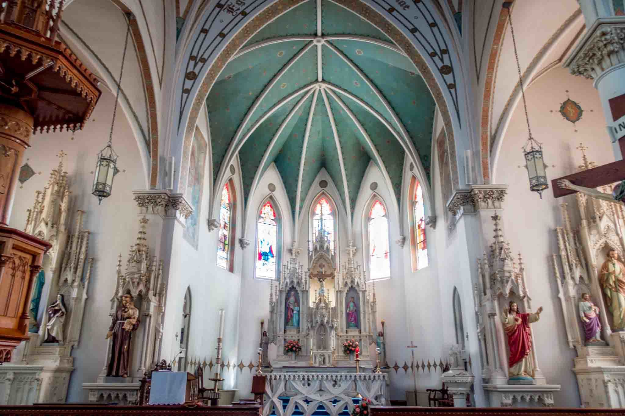 Painted sanctuary and brightly colored altar