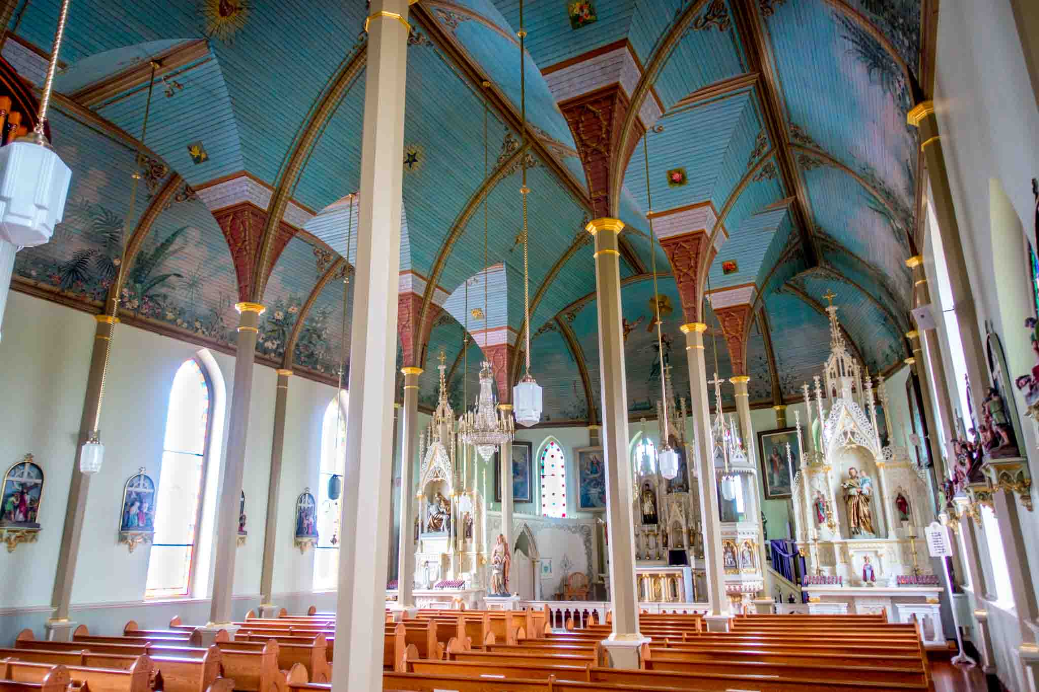 Sanctuary with a turquoise ceiling