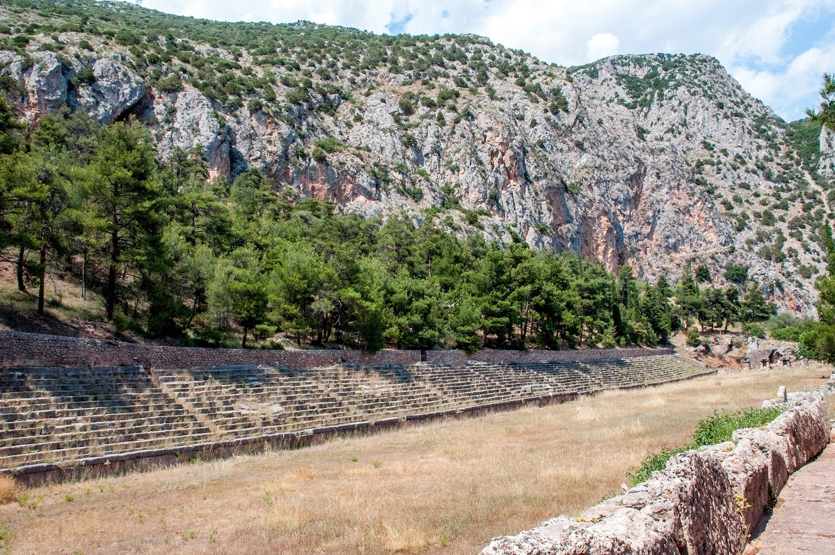 The stadium which sits at the top of the Delphi Archaeological Site