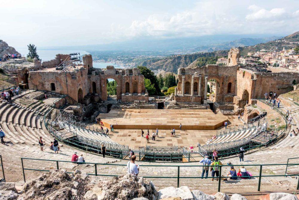 Ancient amphitheater overlooking the ocean