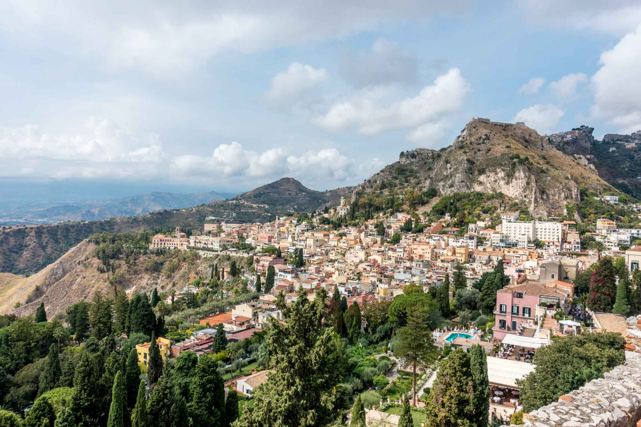 Panoramic view of a town and mountains