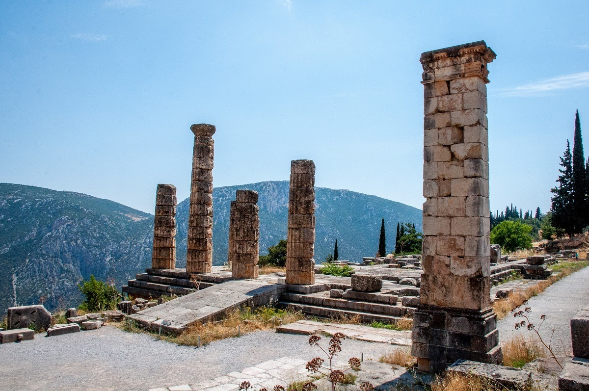The remaining columns at the Temple of Apollo in Delphi