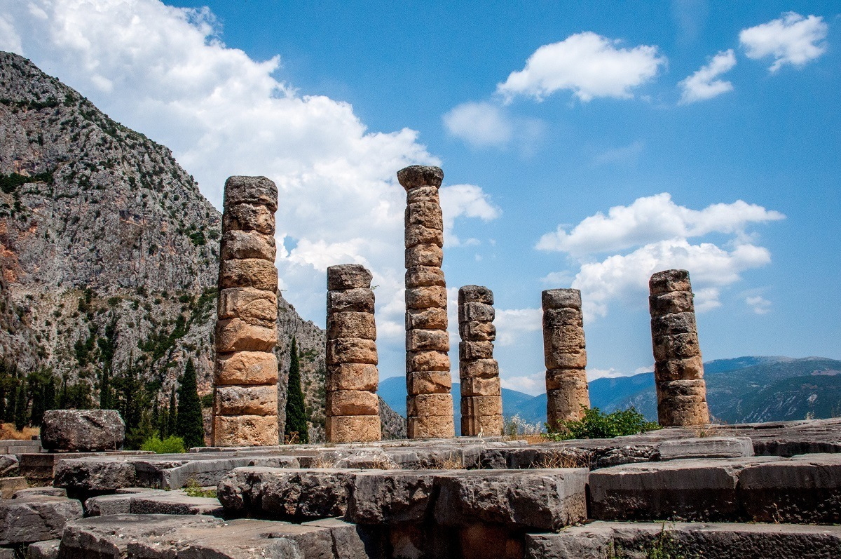Columns in the Temple of Apollo in Delphi - home of the Oracle