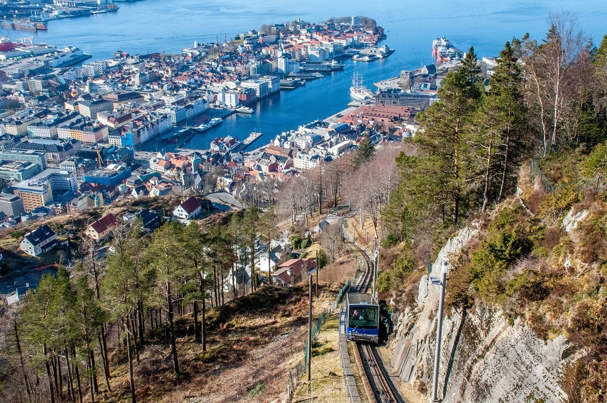 Mount Floyen funicular car and the harbor of Bergen seen from above