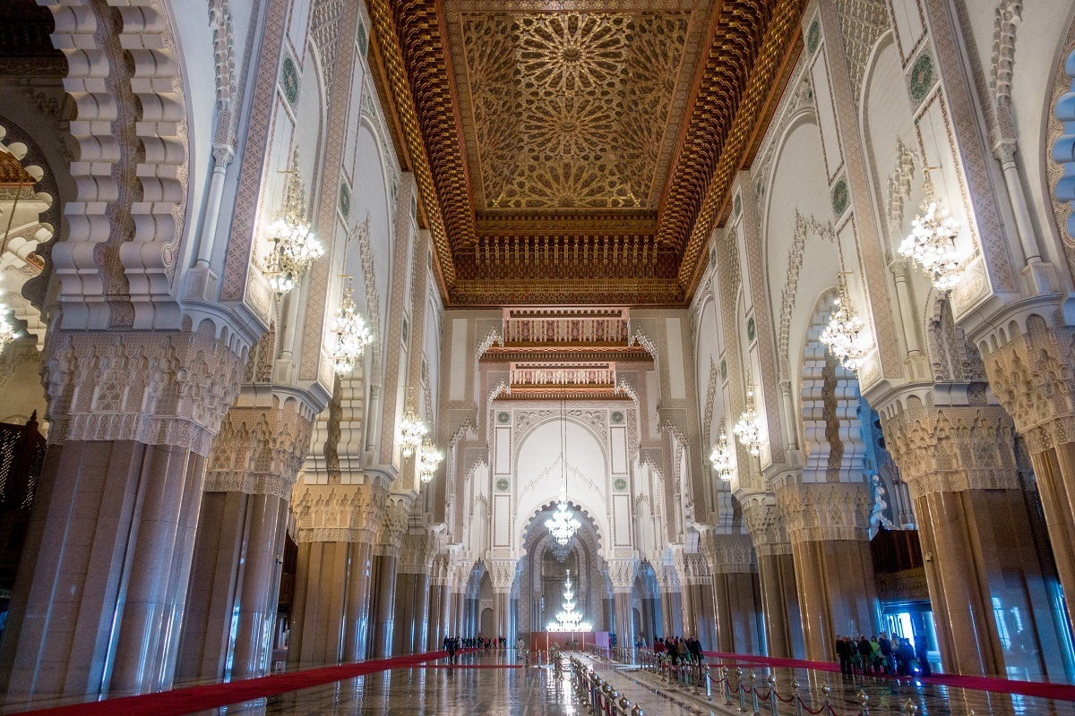 Arches and decorated interior of Hassan II Mosque in Casablanca