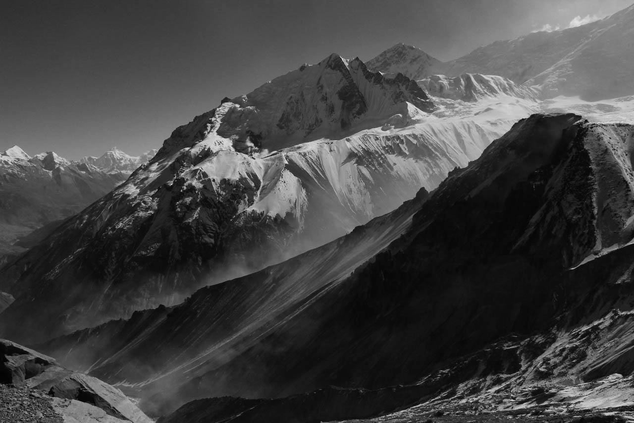 Beautiful view of snow covered mountains while trekking in Nepal