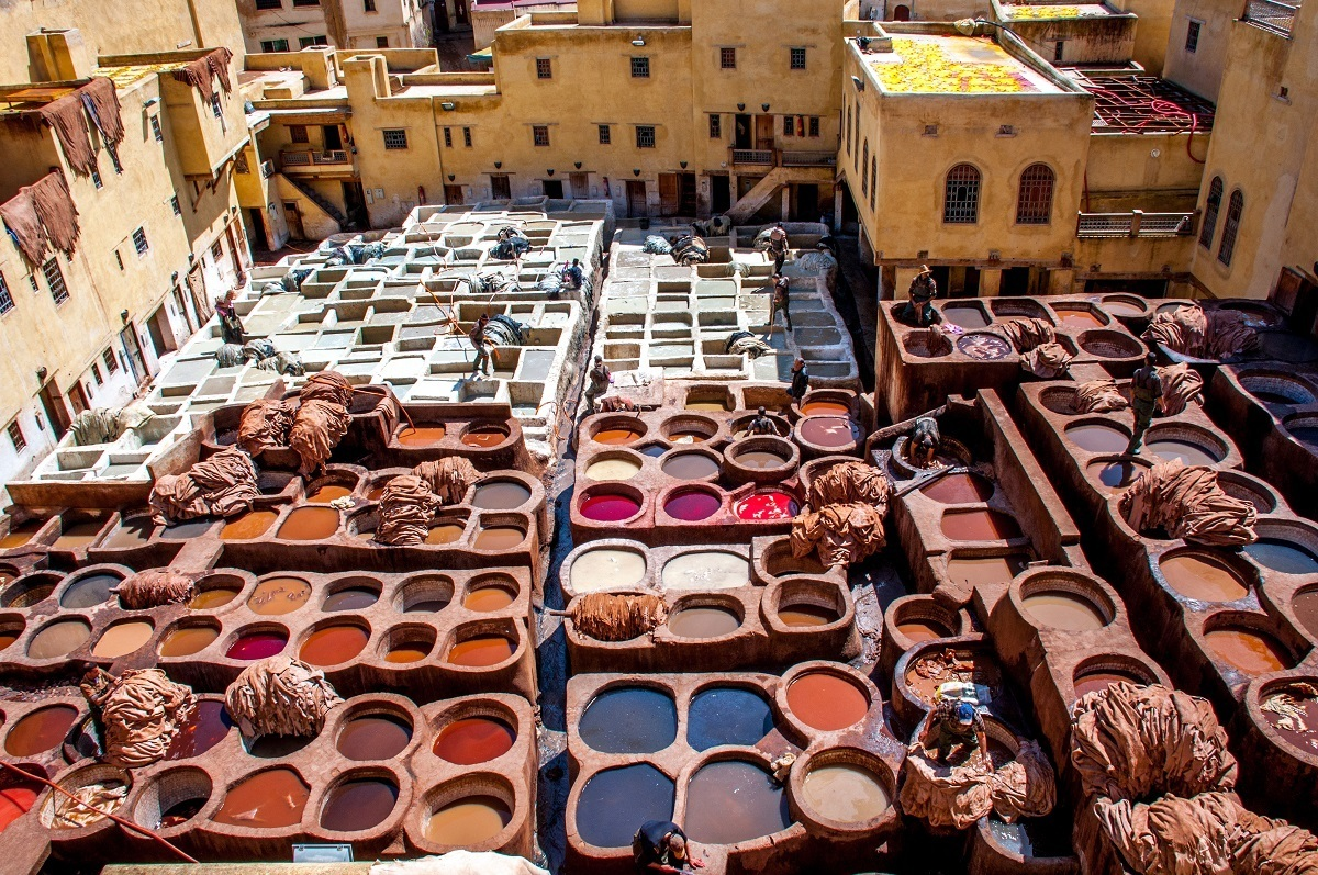 Bleach and dye wells at a tannery