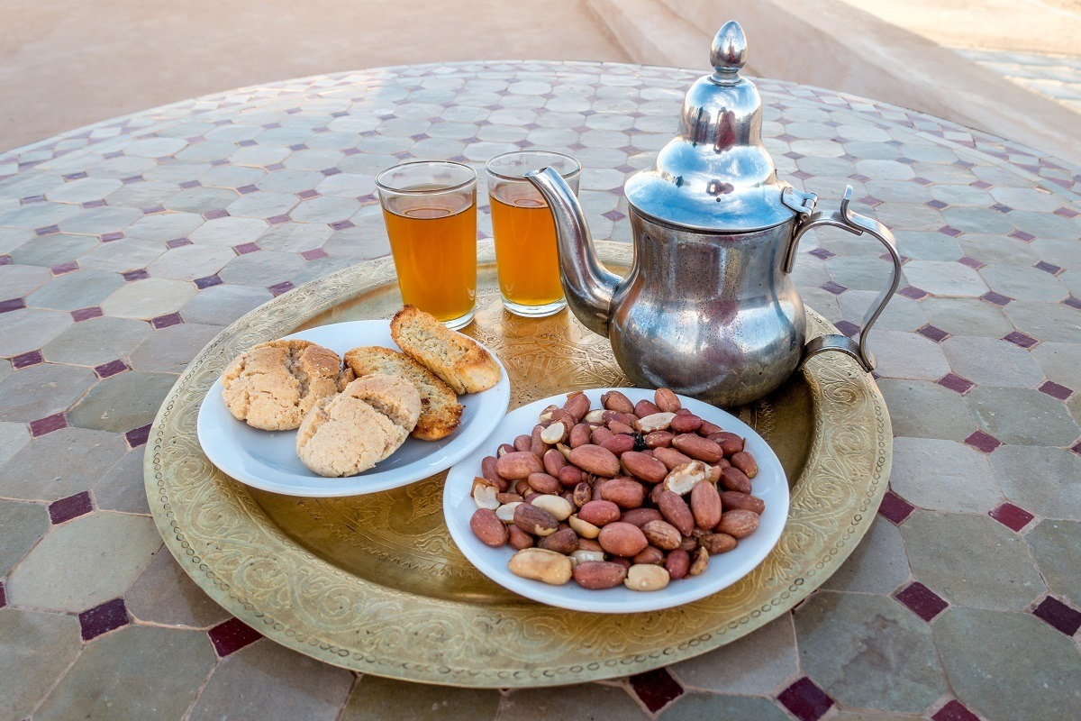 Mint tea, cookies, and nuts
