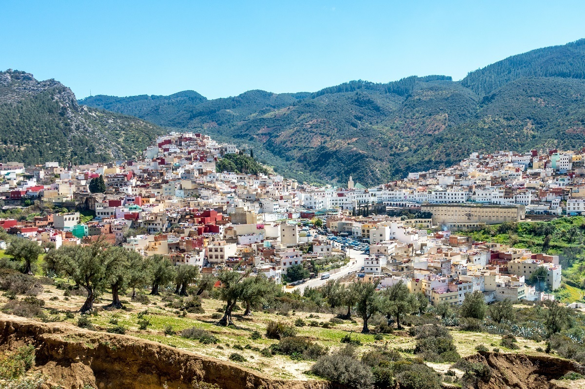 Buildings of Moulay Idriss built on the hillside