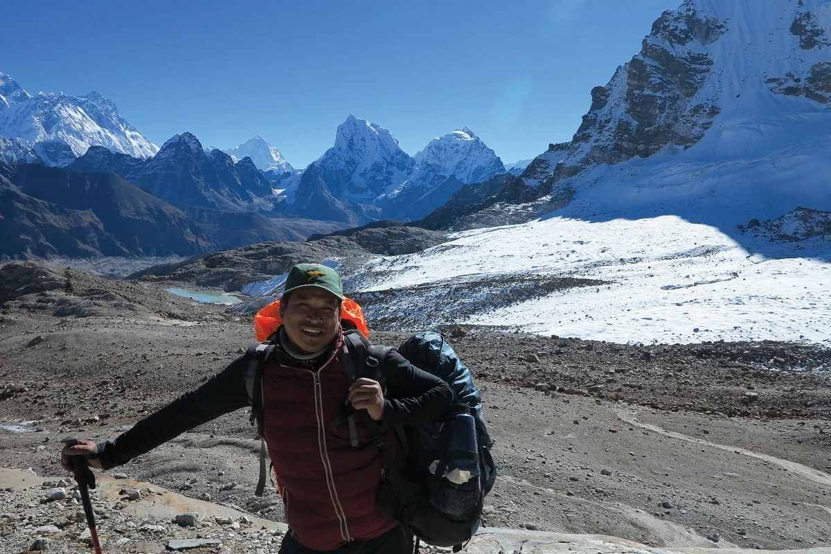 A sherpa guide in the mountains of Nepal