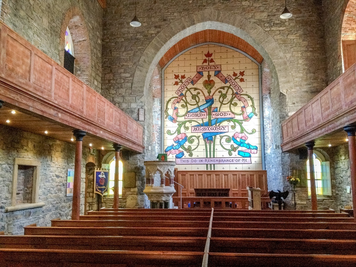 Church sanctuary with colorful mosaic