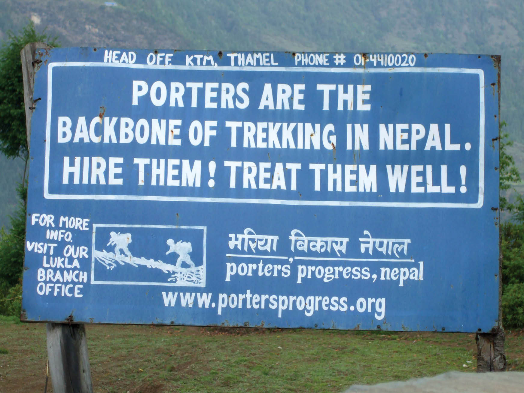 Sign for trekkers in Nepal that raises awareness of rights for sherpas and porters