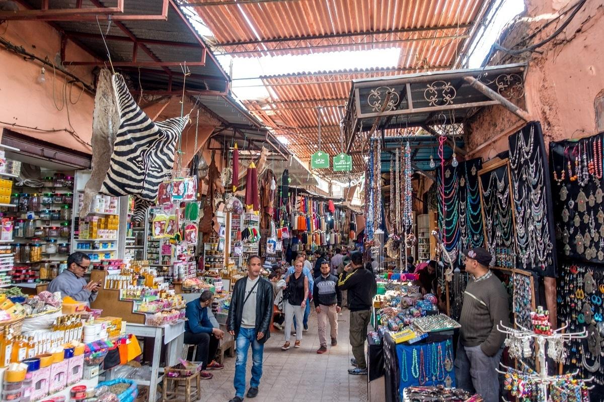 Stores full of merchandise in the souks