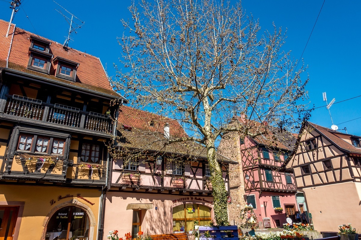 Medieval buildings in a village on the Route du Vin