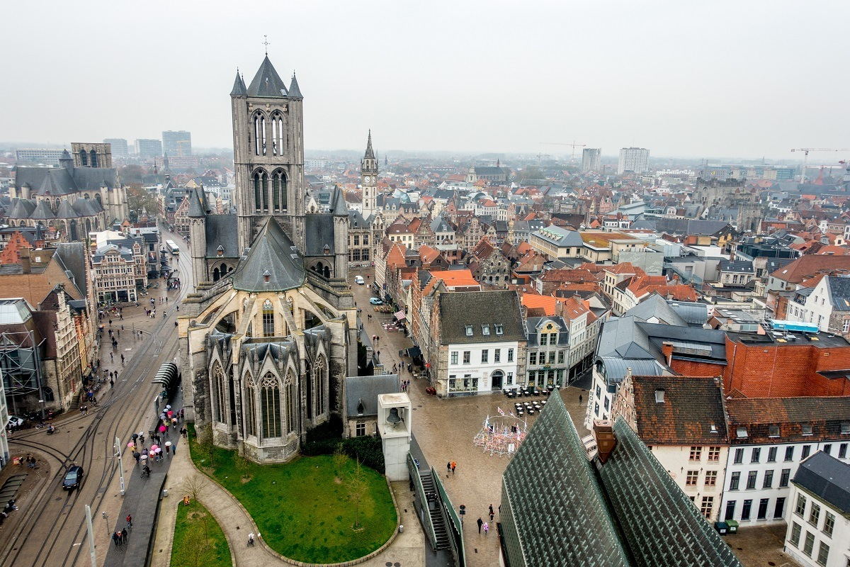 Overhead view of the roofs of Ghent