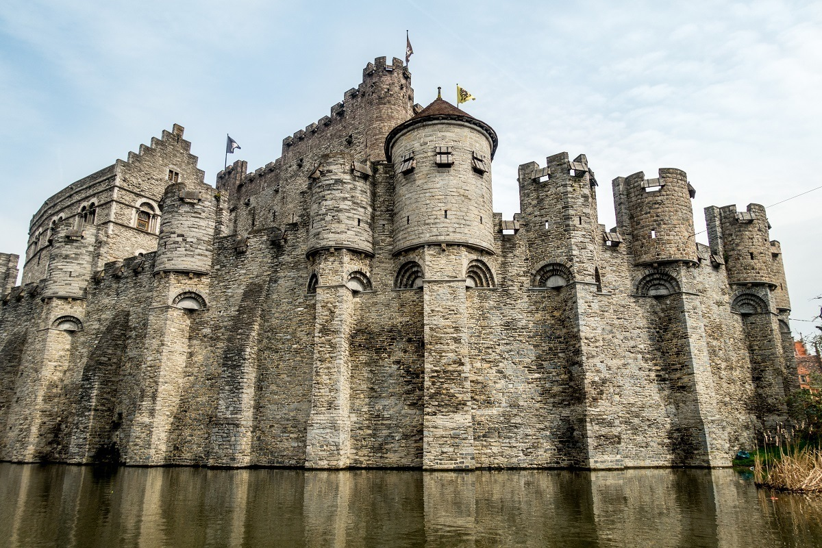 Stone exterior of Castle of the Counts above the river