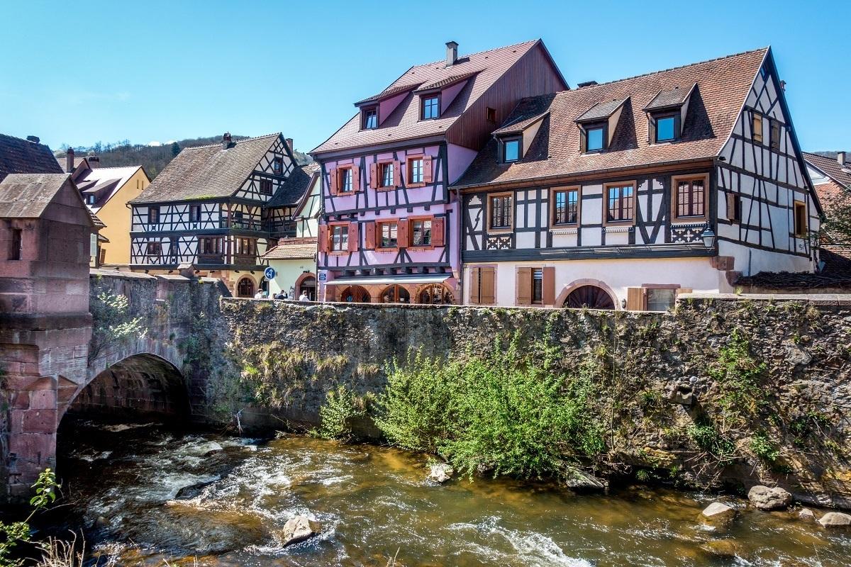 Buildings by the river in Kaysersberg