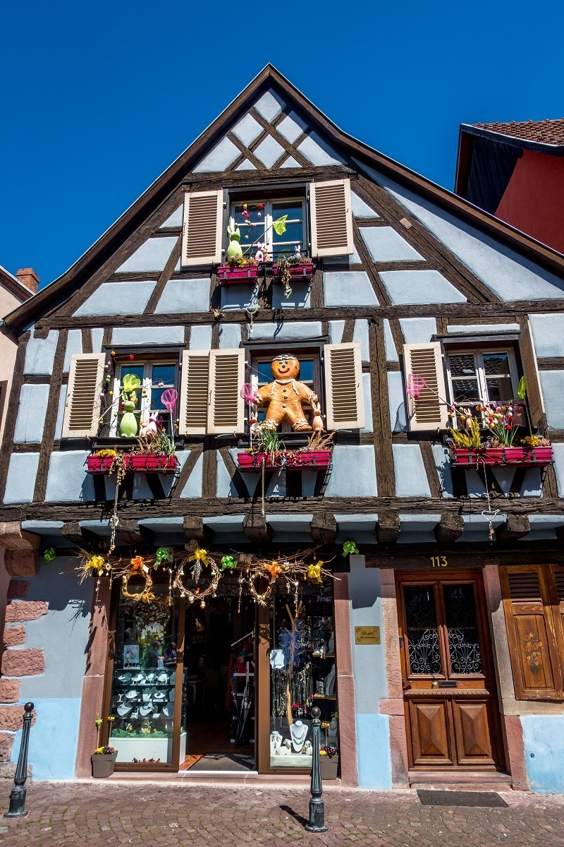 Building in Kaysersberg France decorated like a gingerbread house