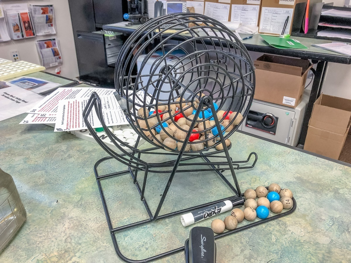 The bingo balls at the BLM office for the Wave hiking permit lottery