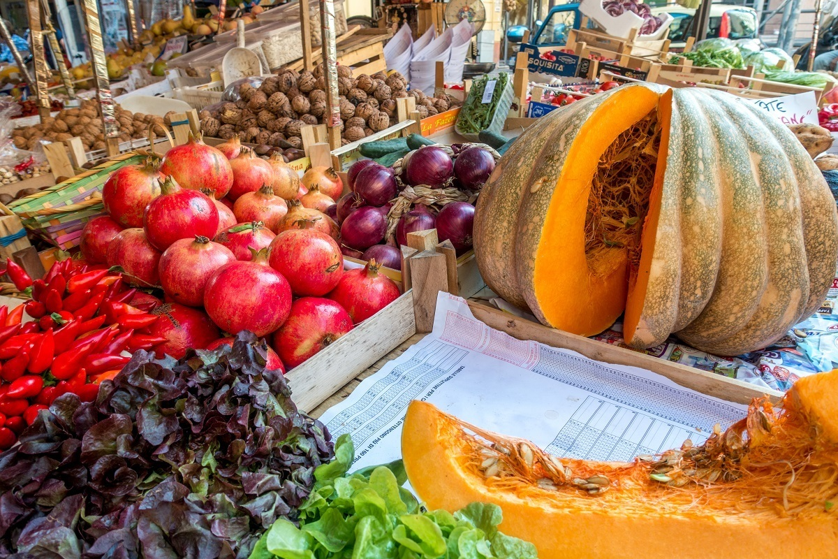 Fruits and vegetables at one of the Palermo markets in Sicily