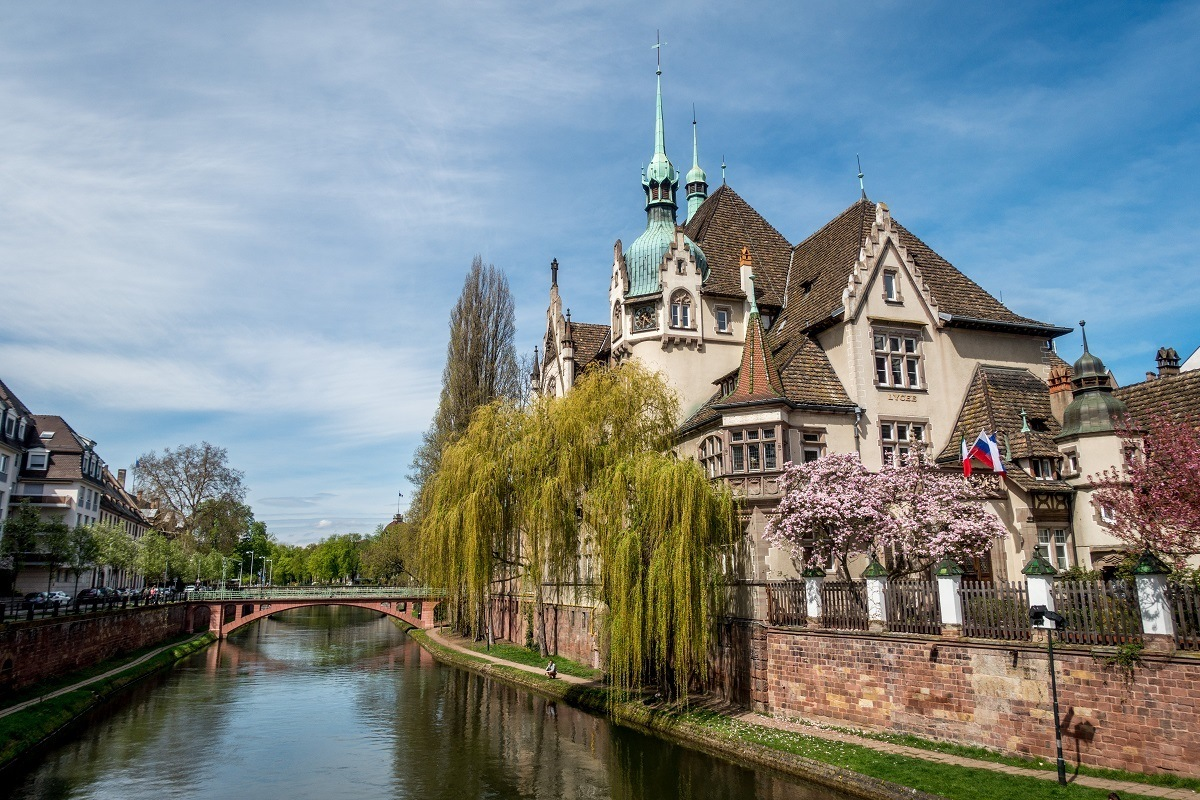 Canals and school in the center of Strasbourg
