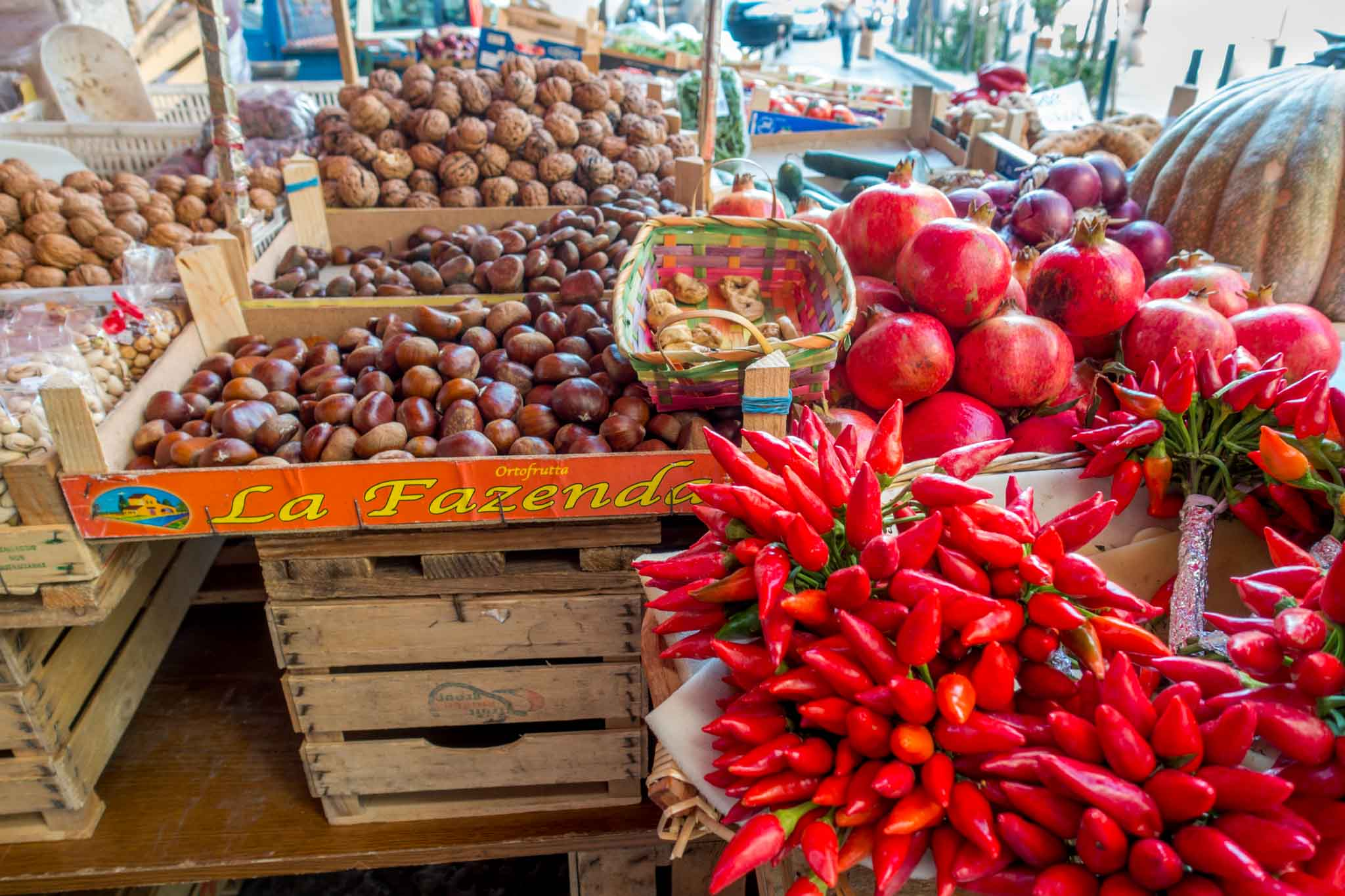 Peppers and nuts displayed for sale
