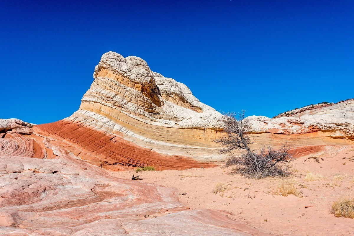 Red and yellow rock striations at the Vermilion Cliffs White Pocket area