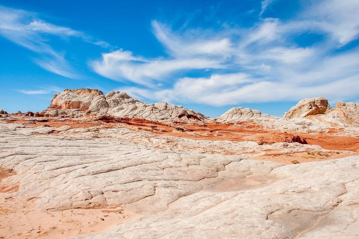 White and yellow rock formations near Kanab UT