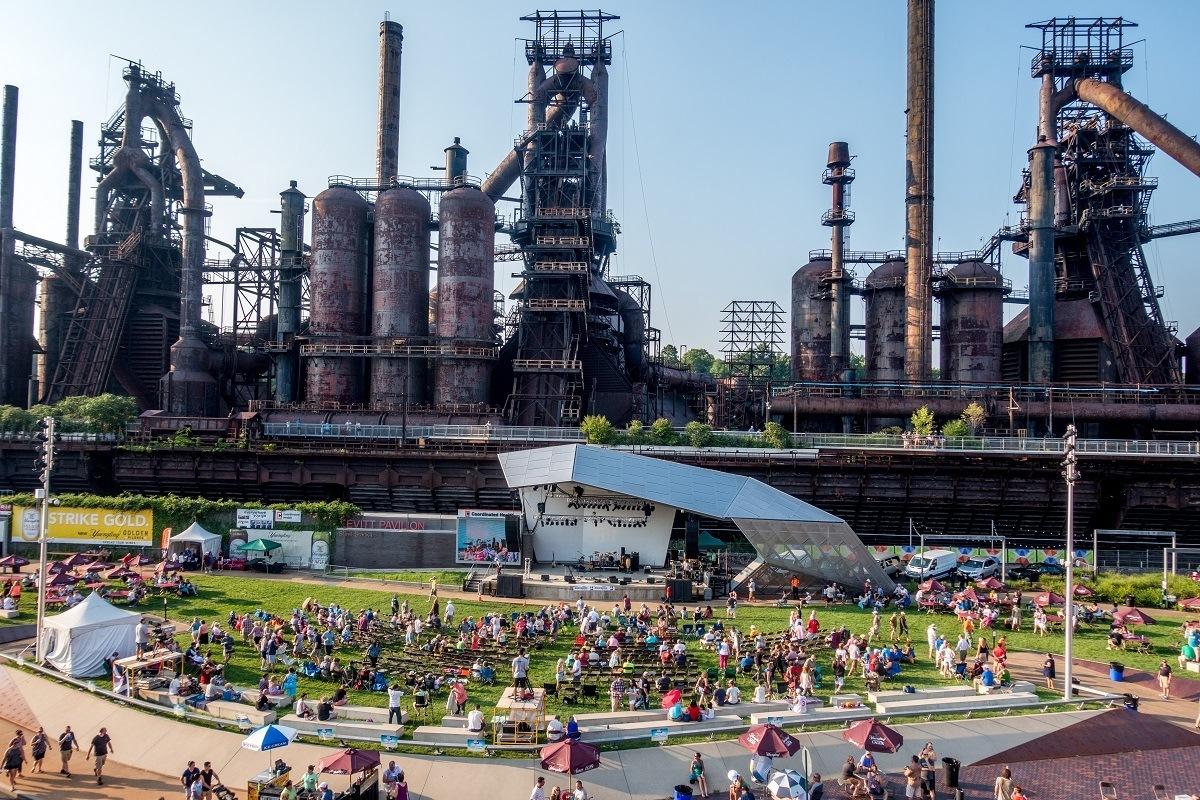 Concert held at large industrial steel stacks complex
