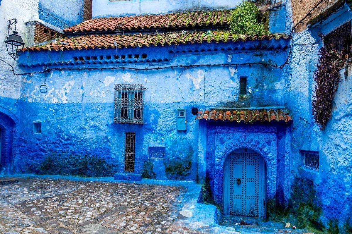 Bright blue building