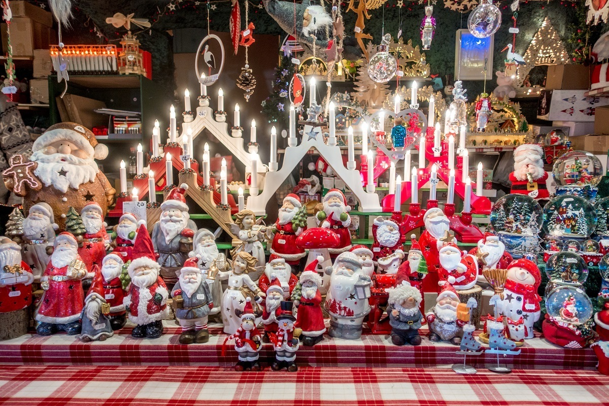 Santas, snowglobes, and decorations for sale