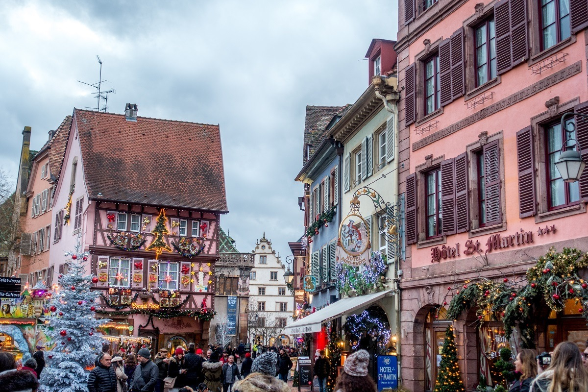 Buildings decorated for Christmas in Colmar France