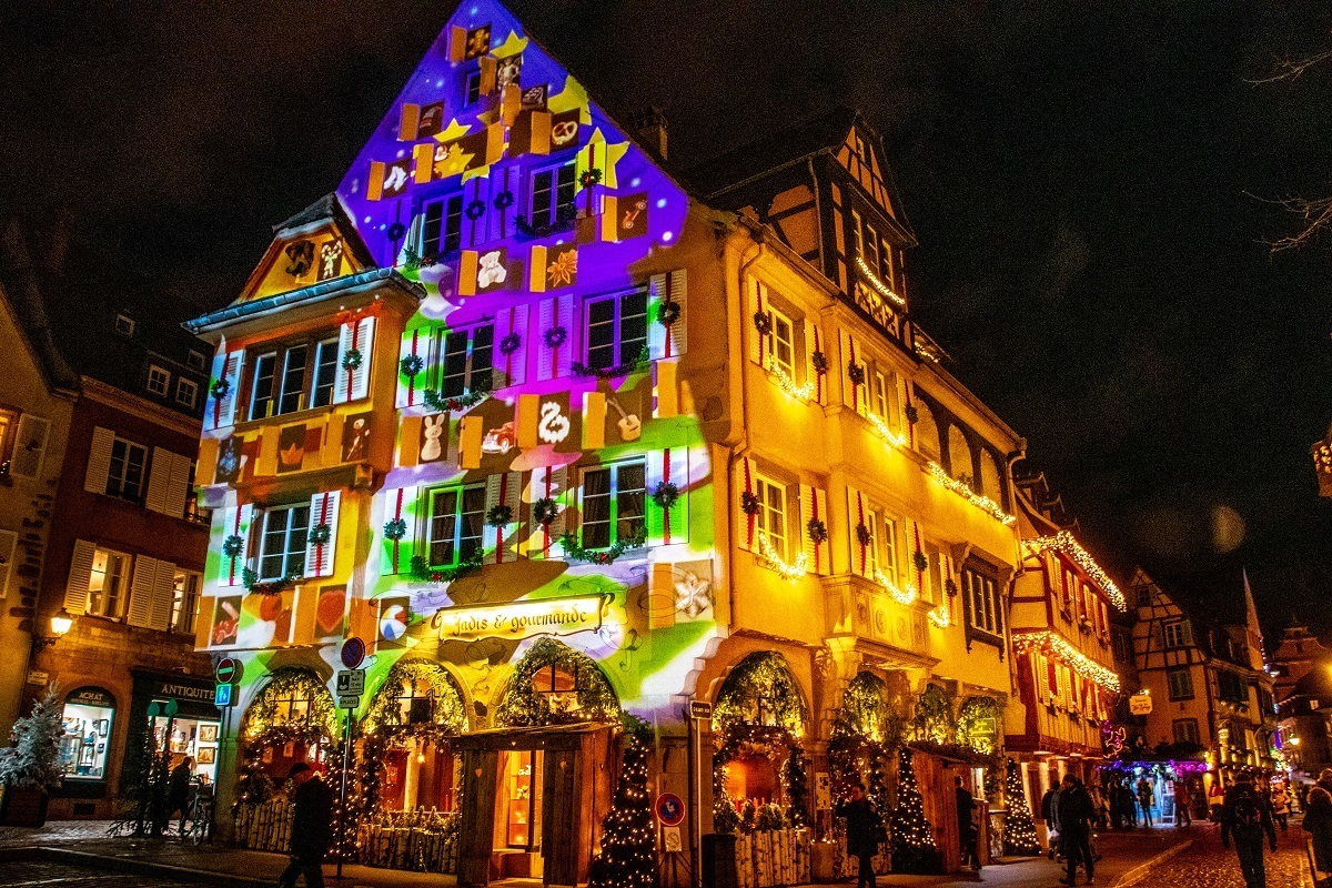 Christmas and winter imagery  projected on a building