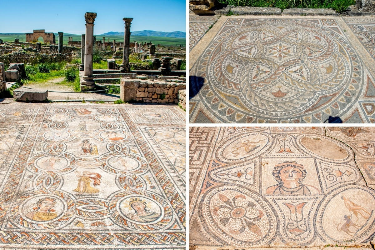 Collage of ancient mosaics