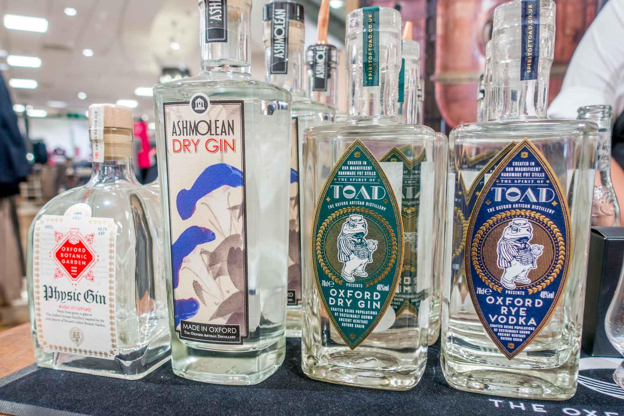 Bottles of craft spirits