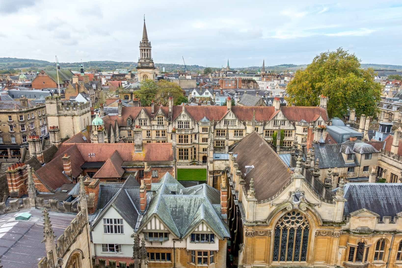 Rooftops and spires of Oxford England